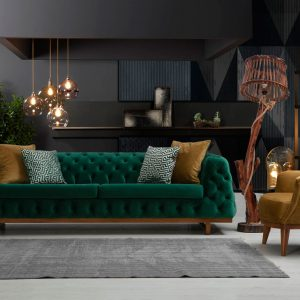 Chester Life comes with luxurious, hardwearing velour fabric, with solid stained wood feet and base. The Chester Life can be purchased as a set or individual pieces.