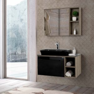 Ritmo 910mm Black Ashwood Vanity Unit.