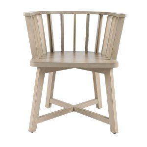 Solid wood timber rounded chair with cushion seating.