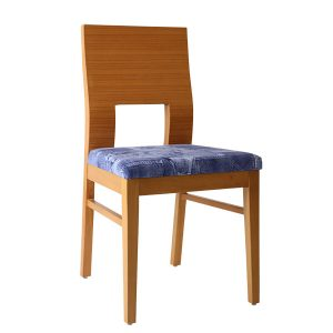 Modern design stained or natural coloured solid wood timber frame chair. Upholstered with heavy linen type of hard wearing fabric, other colours are available email for more details.
