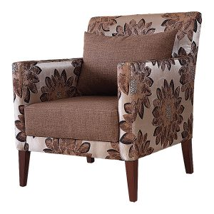 Armchair with stained solid wood feet and patterned fabric upholstery.  Other fabric and faux options available contact us for more information.