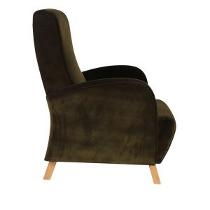 Armchair with stained solid wood feet and heavy velour fabric upholstery.  Other fabric and faux options available contact us for more information.